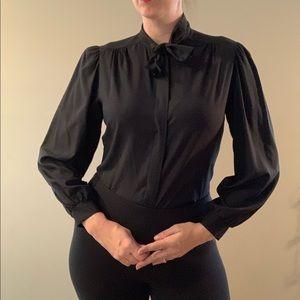Vintage Black Pussy Bow Blouse